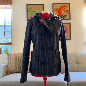 POLO VINTAGE Pinstriped fitted pea coat with hood.